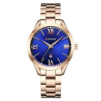 Curren 9007 Reloj de Lujo para Dama Marcas Famosas Oro Diseño de Moda Pulsera Relojes Damas Señoras: Amazon.es: Relojes