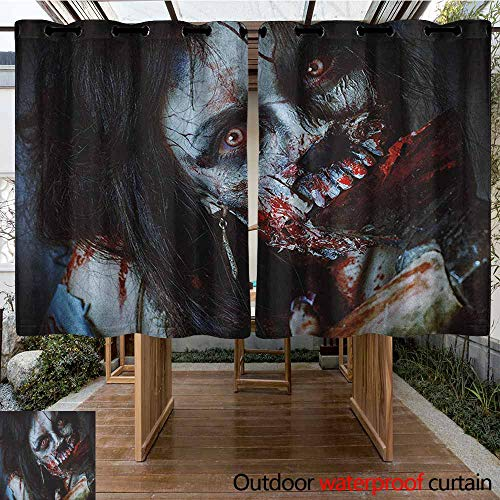 AndyTours Outdoor Curtains,Zombie,Scary Dead Woman with a Bloody Axe Evil Fantasy Gothic Mystery Halloween Picture,Simple Stylish,K140C100 Multicolor