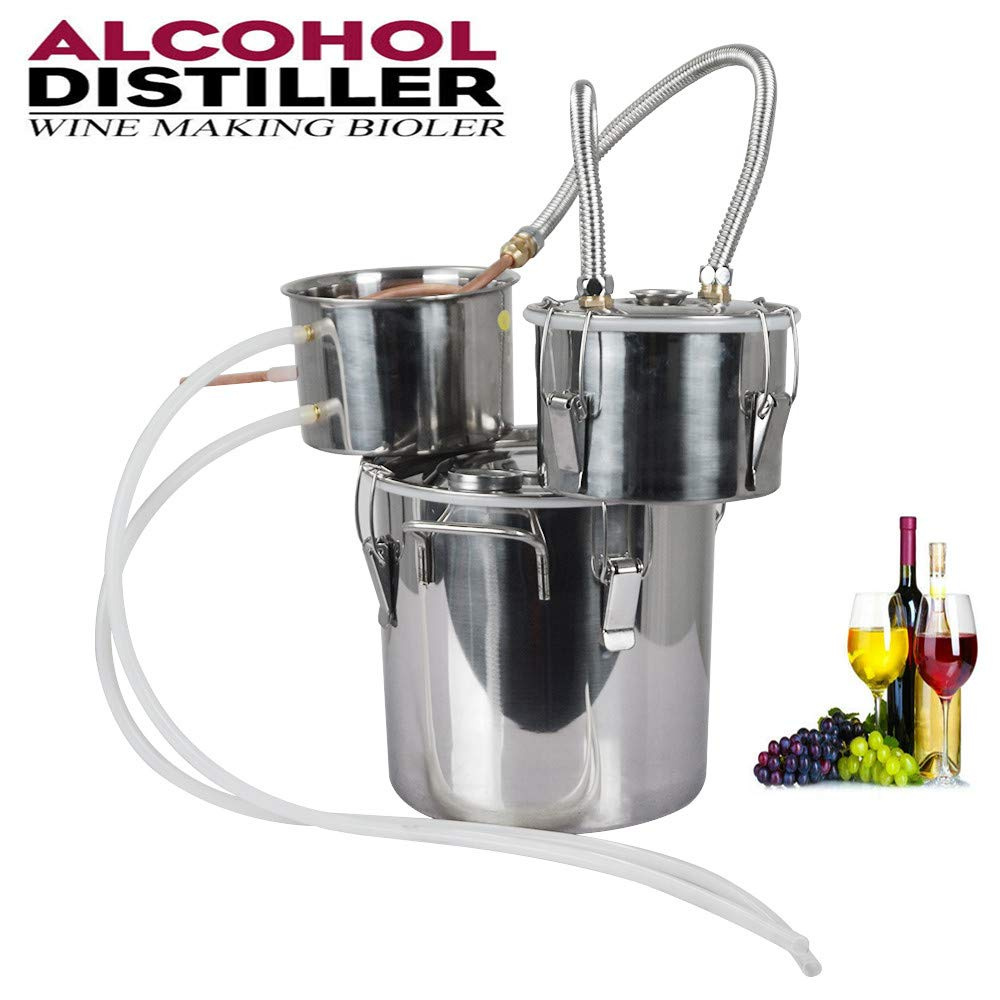 ECO-WORTHY 5 Gallon 18L Alcohol Distiller 304 Stainless steel Home Moonshine Water Distiller Wine Making Kit Home Brewing Kit with Thumper Keg by ECO-WORTHY