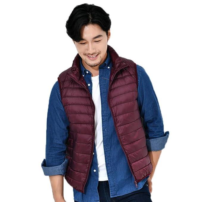 Personalizadas Sudaderas Premium Mens Solid Down Vest Zipper Caliente A Prueba De Viento Outwear Chaleco De Invierno Abrigos Rojo Small: Amazon.es: Ropa y ...