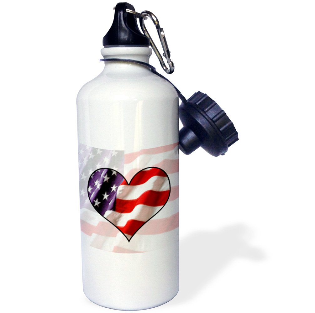 ローズWB _ 12149 _ 1アメリカ国旗ハートスポーツウォーターボトル、21オンス、ホワイト   B004PVCM5G