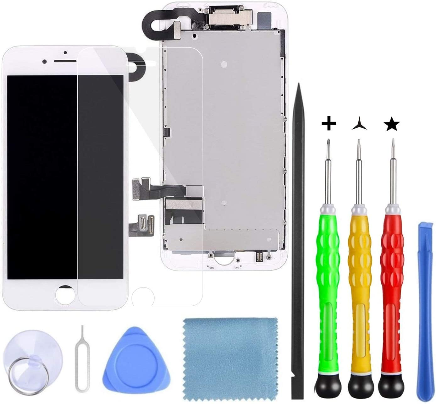 """LanSupp Compatible with iPhone 7 Plus Screen Replacement White,5.5"""" LCD Screen Full Assembly Preinstalled Front Camera,Earpiece Speaker and Proximity Sensor with Repair Tools"""