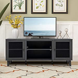 """Crestlive Products Wood 65"""" TV Stand, Living Room Storage Shelves Large Entertainment Center, Television Cabinet with 2 Center Compartments and 2 Cabinets, Black & Gray"""