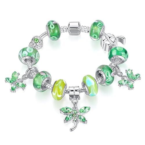 cb980632a88f Bamoer Fashion Beautiful Estilo Europeo Verde Cristal de Murano Beads  mariposa encanto cuentas bañado en plata pulsera 18 cm 20 cm 21 cm   Amazon.es  Joyería