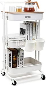 DTK 3 Tier Utility Rolling Cart with Cover Board, Rolling Storage Cart with Handle and Locking Wheels Kitchen Cart with 2 Small Baskets and 4 Hooks for Bathroom Office Balcony Living Room(White)