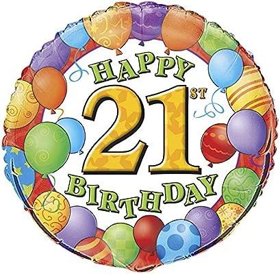 Globo de la hoja f. 21 cumpleaños en el diseño del globo, redondo, globo de helio de 21 cumpleaños