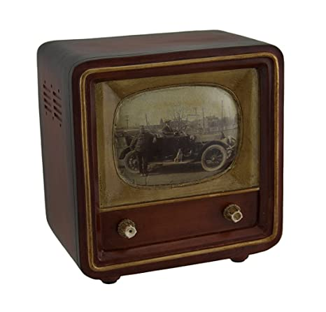 resin toy banks brown vintage finish square retro television coin bank 6 inch 575 x 6