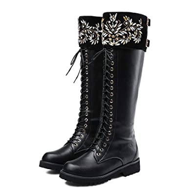 ac9b74987595 Amazon.com | AnMengXinLing Women Knee High Combat Boot Lace Up Crystal  Buckle Low Chunky Heel Motorcycle Riding Winter Leather Booties | Knee-High
