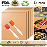 Copper Grill Mat for Gas Grills and Bake Mats Set of 5 Non-Stick BBQ Grill & Baking Copper Sheet Works on Gas, Charcoal, Electric Grill with 2 Silicone BBQ Brushes (Gold)