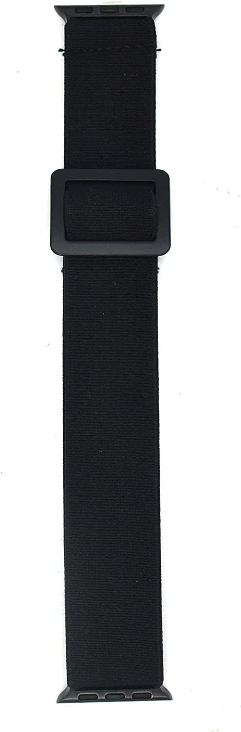 Adjustable Elastic Armband or Ankle Band for Compatible with Apple Watch 42mm Series 3 2 1/ Apple Watch 44mm Series 6 SE 5 4, Stretchy Loop Band for Men and Women (Black, Medium)