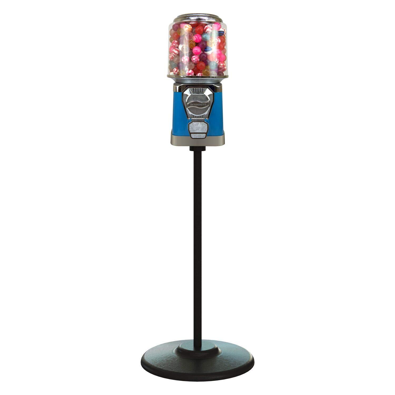 Gumball Machine with Stand - Blue Home Vending Machine - Gum Ball Machine with Cylinder Bank - Candy Dispenser - Bubble Gum Machine for Kids - Bubblegum Machine