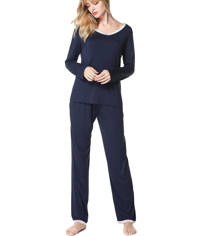 Bwiv Termica Due Pezzi Pigiama Modale per Donna Pigiami Set Manica Lunga Camicia da Notte Girocollo Invernale