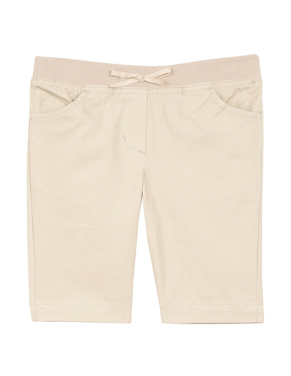 Nautica Girls' Little Twill Bermuda Short, Khaki/Pull on, XL (6X)