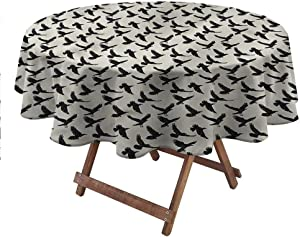 """carmaxsHome Round Table Cloth Raven for Patio Picnic Camping Spring Summer Abstract Flying Bird Figure 36"""" Round"""
