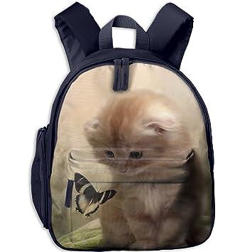 Sunmoonet - Mochila para hombro, diseño de gato y mariposa, resistente al agua,