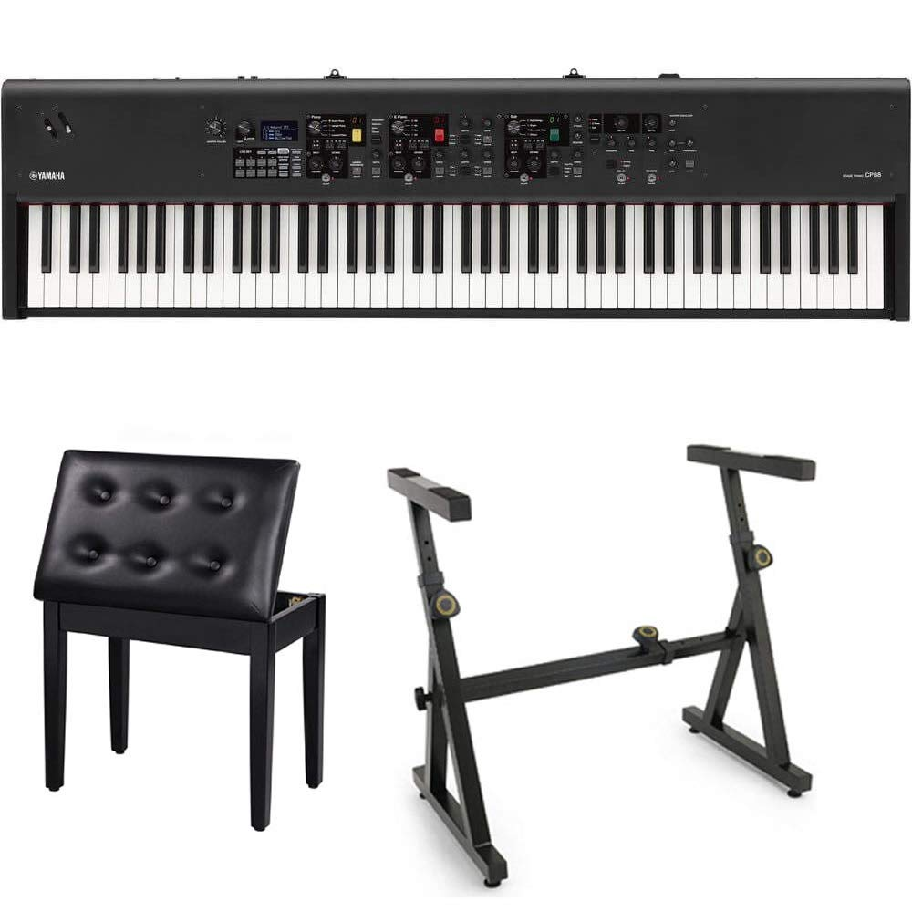 Yamaha CP88 88-Key Stage Piano Bundle with Heavy Duty Z-Stand, and Black Padded Piano Bench with Storage by Yamaha Keyboards