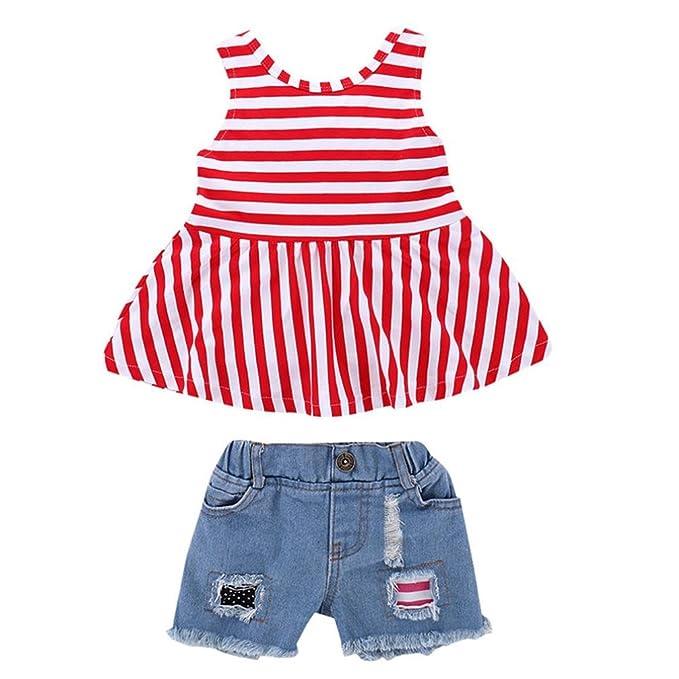 UOMOGO® 2pcs Due pezzo Vestiti del Bambino Ragazza Bambino Maglietta a  Striscia+ Pantaloncini in Denim 48677fb477f