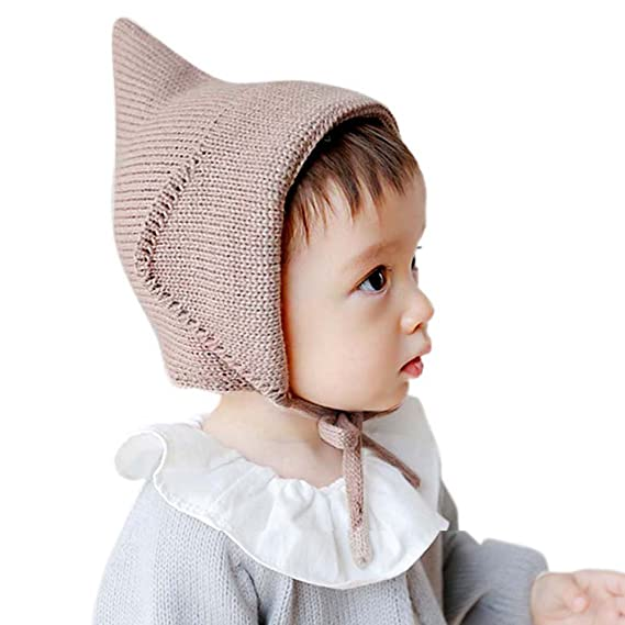 Amazon Etosell Witches Hat Knitted Girls Boys Lace-Up Solid Color Baby Bonnet Newborn