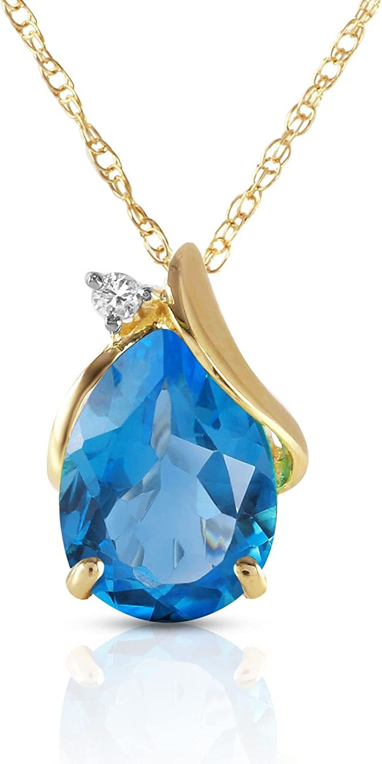 ALARRI 2.53 Carat 14K Solid Gold Necklace Diamond Blue Topaz with 24 Inch Chain Length