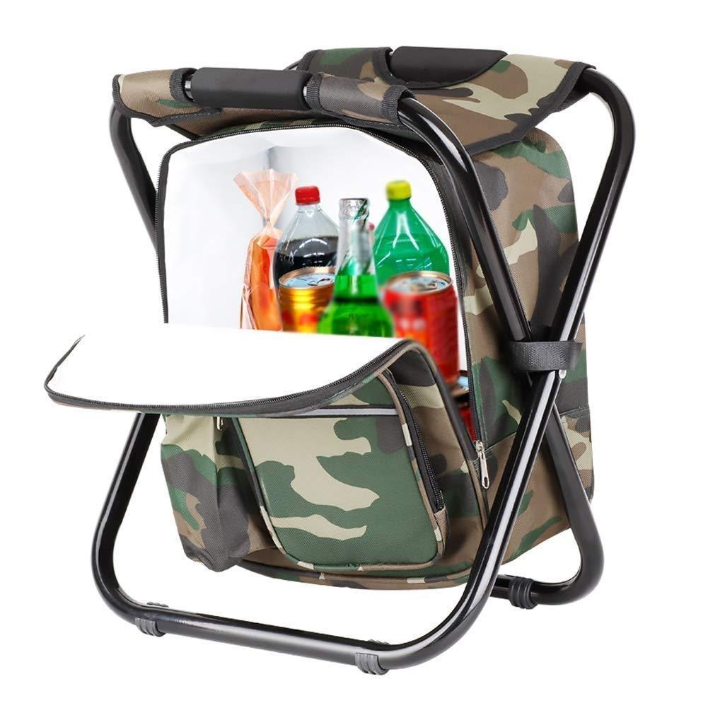 QYYzdy Camping Pliant extérieur de Chaise avec Le Petit Tabouret portatif Ultra-léger Compact de Sac isolé, Camouflage