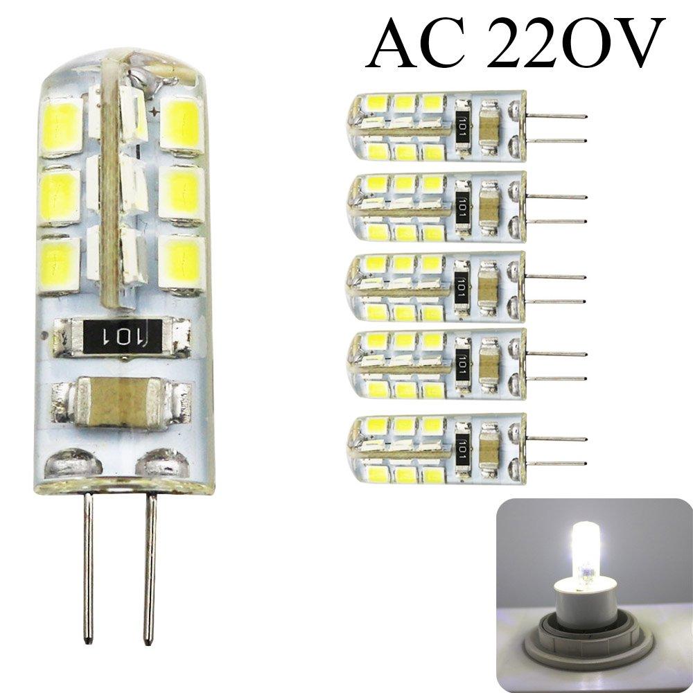 G4LED Lampe à économie d'énergie 24SMD 2835, 3Walt AC 220V 240lm Angle du faisceau de 360° blanc froid 6500K (5Pcs) ShenShuai Trade