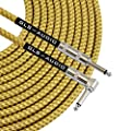 GLS Audio 20 Foot Guitar Instrument Cable - Right Angle 1/4 Inch TS to Straight 1/4 Inch TS 20 FT Brown Yellow Tweed Cloth Jacket - 20 Feet Pro Cord 20' Phono 6.3mm - SINGLE by GLS Audio