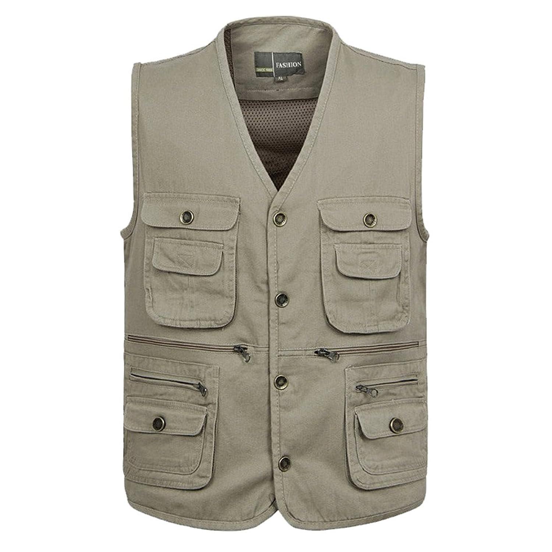 Zicac Mens Outdoor Photography Camping Hunting Fishing Hiking Working Vest  Multipocket Casual Waistcoat Safari Jacket Top