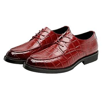 Jingkeke Zapatos de Cuero de PU de los Hombres Formales con Cordones, Transpirable, Negocios