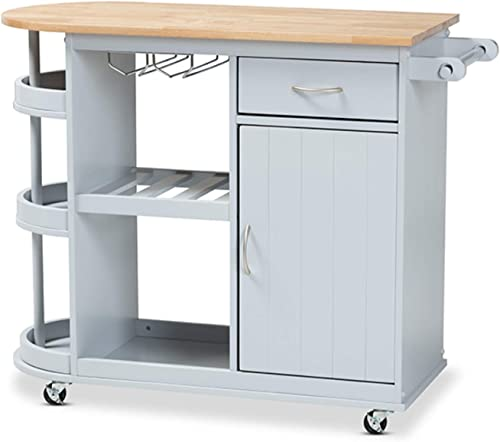 Wholesale Interiors Baxton Studio Donnie Light Gray and Natural Finished Wood Kitchen Storage Cart