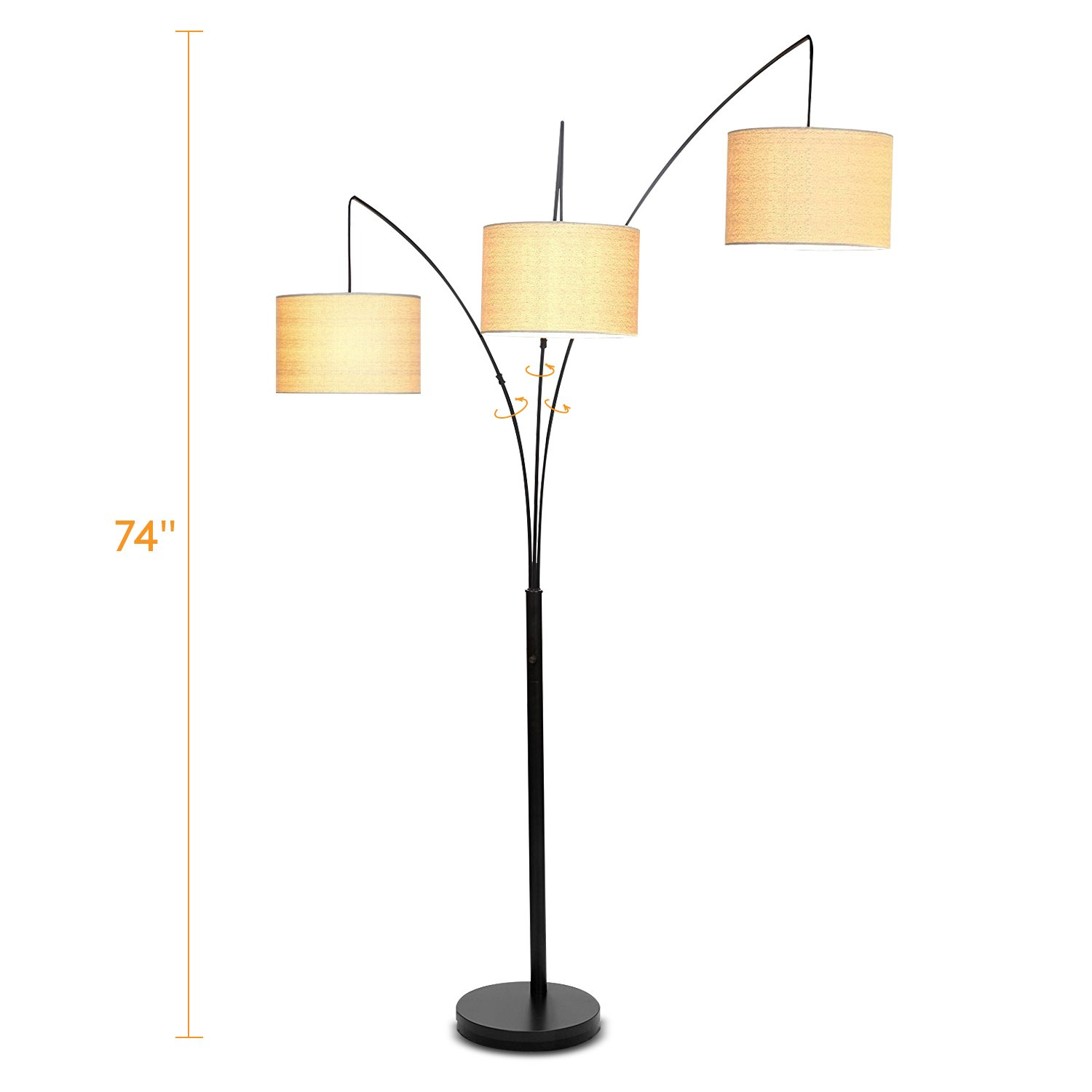 Brightech Trilage LED 3 Arc Floor Lamp – Living Room Standing Light with Hanging Shades - Tall Modern Lamp for Family Room or Bedroom - Black by Brightech (Image #6)