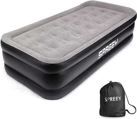 SPREEY - Colchón Hinchable eléctrico para una Persona, Cama de Coche portátil para Adultos y niños, Bomba eléctrica integrada y Bolsa de ...