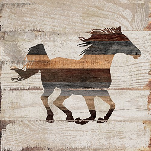 P GRAHAM DUNN Horse Silhouette Whitewash 5.5 x 5.5 Solid Wood Plank Wall Plaque Sign