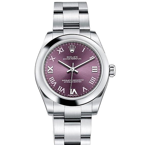 Rolex Oyster Perpetual 31 rojo uva romano Dial Acero Damas Reloj 177200