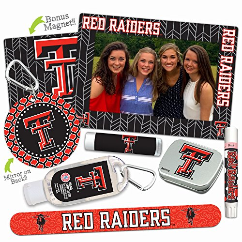 Texas Tech Red Raiders—DELUXE Variety Set (Nail File, Mint Tin, Mini Mirror, Magnet Frame, Lip Shimmer, Lip Balm, Sanitizer). NCAA gifts, stocking stuffers. Only from Worthy. (Basketball Ncaa Pick Guaranteed)
