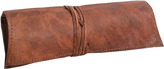 Gusti Estuche de Cuero - Felix neceser escolar papeleria pequeño marrón cuero: Amazon.es: Zapatos y complementos