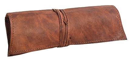 Gusti Estuche de Cuero - Felix neceser escolar papeleria pequeño marrón cuero