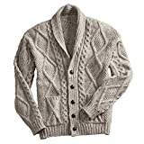 Men's Aran Shawl Collar Cable Knit Cardigan Sweater - Oatmeal - Large