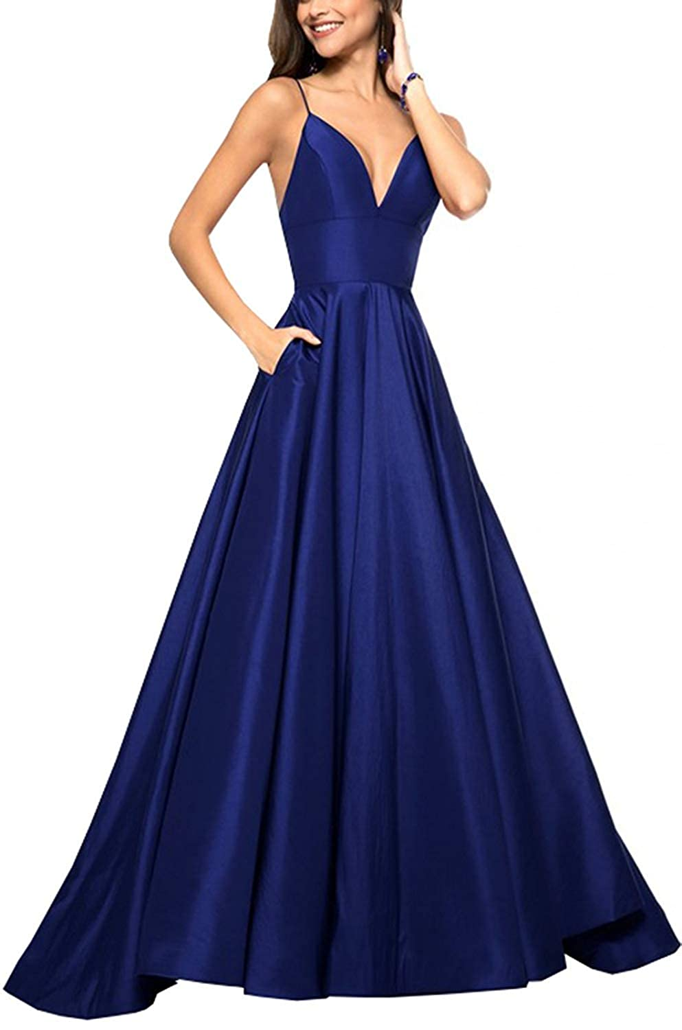 Royal bluee QiJunGe V Neck Evening Party Gown A Line Spaghetti Strap Prom Dress with Pocket