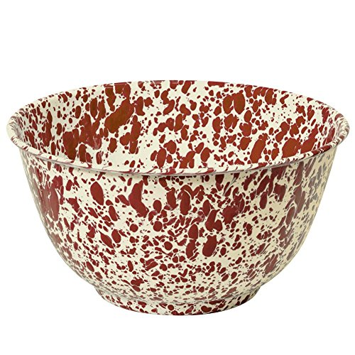Cream Serving Bowl - Enamelware Large Salad/Serving Bowl - Burgundy/Cream Marble