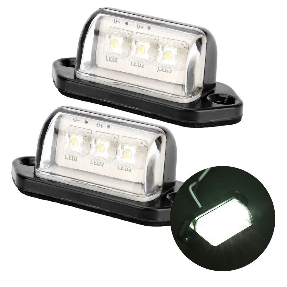 Yctze 2Pcs Licence Plate Light,10-30V ABS Plastic 3LED Number Licence Plate Light Side Maker Signal Tail Light for Car Truck Trailer