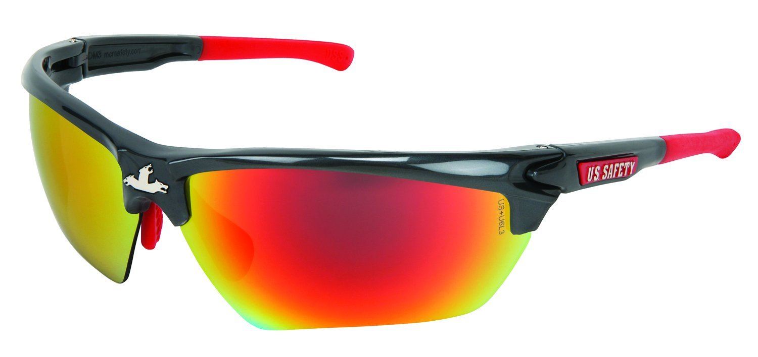 MCR Safety DM131R Dominator DM3 Safety Glasses with Fake Mirror and Gun Metal Frame