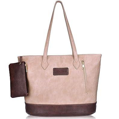 Image Unavailable. Image not available for. Color  ZMSnow Ladies Handbags,PU  Leather Tote Handbag Shoulder Mix Color Bag for Women 98c07c606a