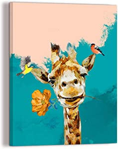 Turquoise wall art Children Bedroom Decor Canvas Print Teal Funny Animal Giraffe Decor Placed In Bathroom Living Room Home Office Family Dining Room Modern Mural adorn