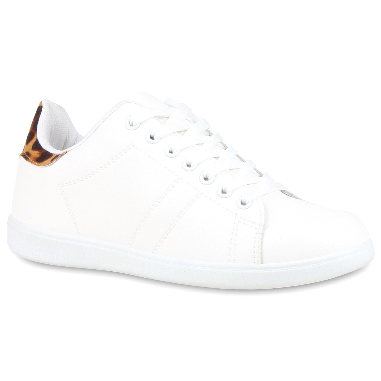 Stiefelparadies Damen Basic Sneaker Niedrig Basic Damen Flandell Weißs Leopard d053f9