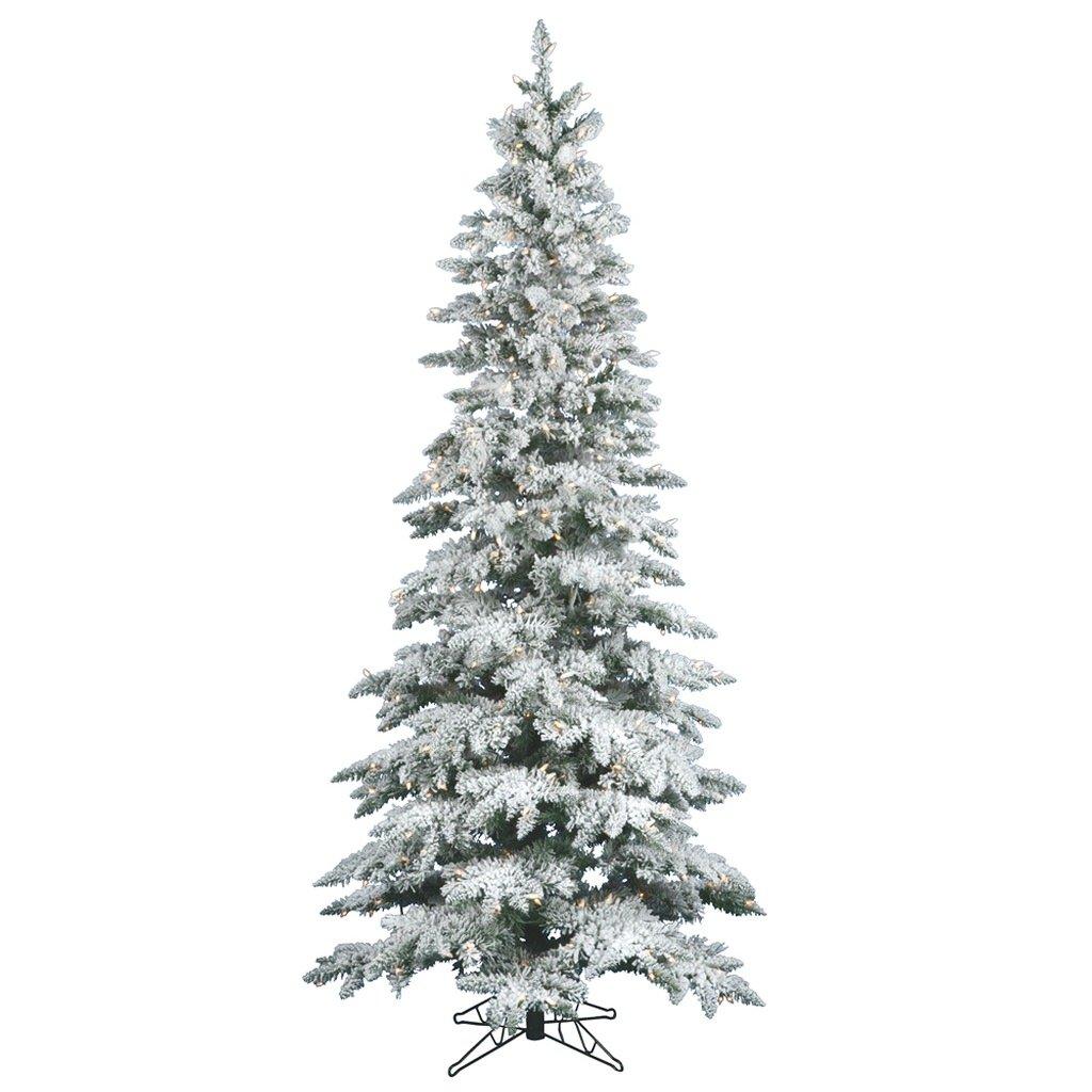 Vickerman 9' Flocked Slim Utica Fir Artificial Christmas Tree with 600 Warm White LED Lights