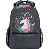 ZZKKO Animal Unicorn Backpacks College School Book Bag Travel Hiking Camping Daypack