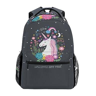 ZZKKO Animal Unicorn Backpacks College School Book Bag Travel Hiking  Camping Daypack 66c2178315