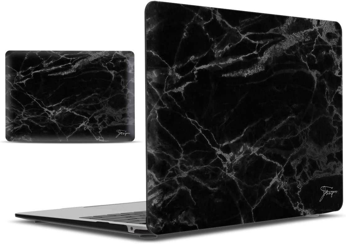 IBENZER MacBook Air 13 Inch Case 2020 2019 2018 New Version A1932, Hard Shell Case Cover for Apple Mac Air 13 Retina with Touch ID, Black Marble, MAD-T13BKMB