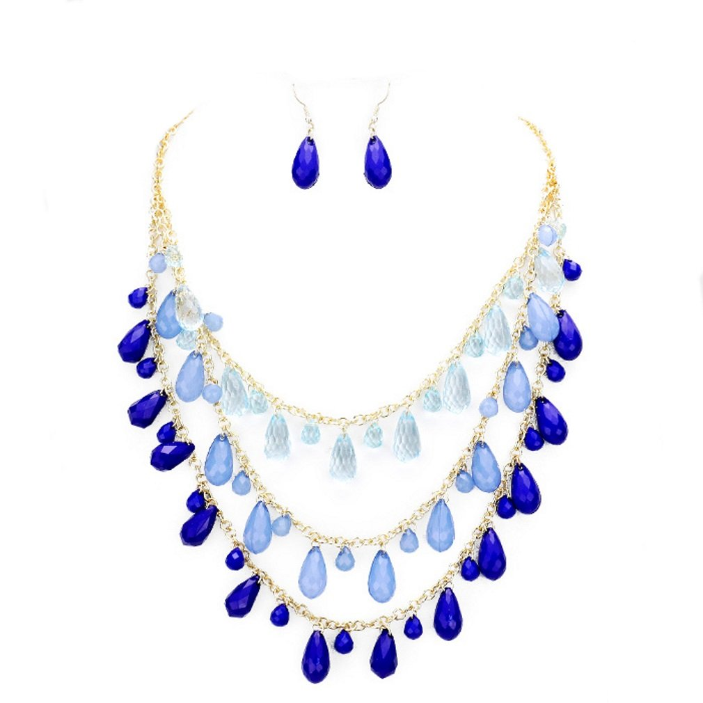 Affordable Wedding Jewelry Blue Triple Strand Resin Teardrop Bead Fringe Charms Layered Gold Chain Necklace Earrings Set Gift Bijoux by Affordable Wedding Jewelry