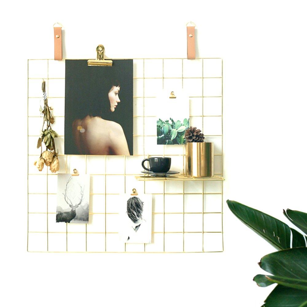 AceList Gold Wire Wall Grid, Multipurpose Artwork Organizer Metal Frame Mesh Photo Display for Memo Photograph